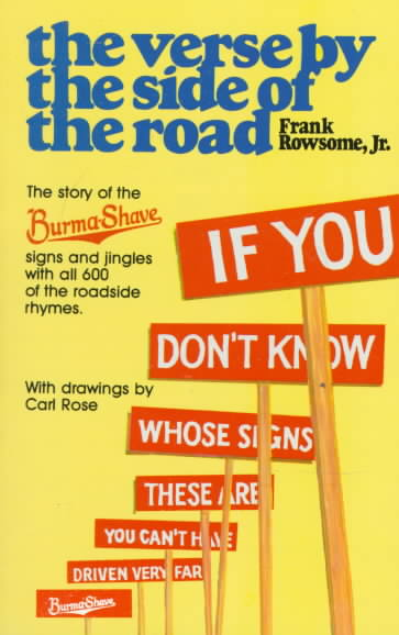 Verse by the Side of the Road By Rowsome, Frank, Jr.